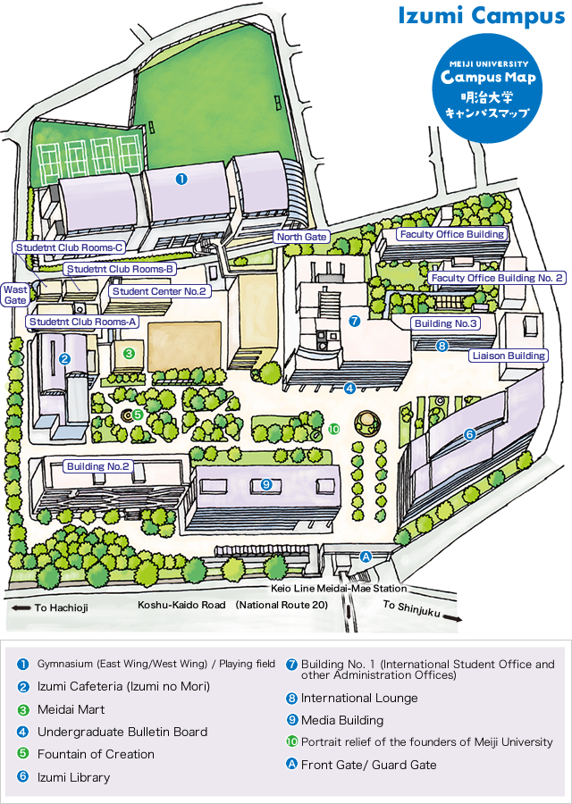 Independence High School Campus Map.Izumi Campus Map Izumi About Meiji University