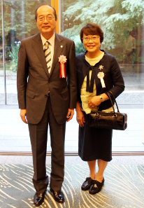 At the Official Residence, with his wife, Harumi