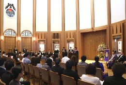 The Autumn Entrance Ceremony held in Kishimoto Tatsuo Hall