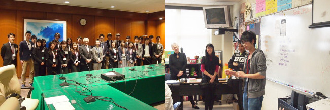 Left: Group photo with Mr.Nari Konno, second secretary of Embassy of Japan<br/> Right: Opening statement of Koyo Sawada from School of Law