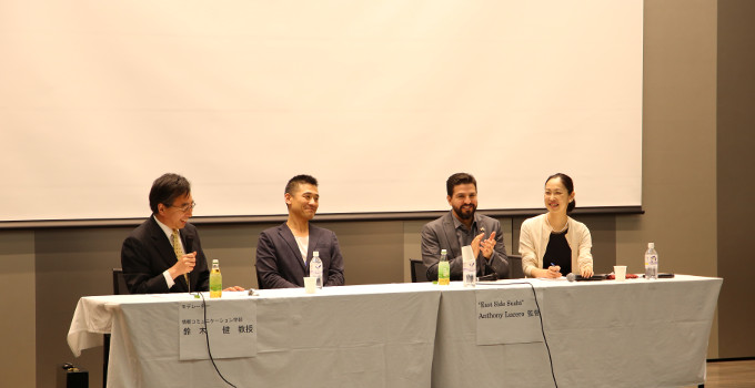 Yutaka Takeuchi, the protagonist of this movie (second from the left) and <br/> director Anthony Lucero (second from the right)