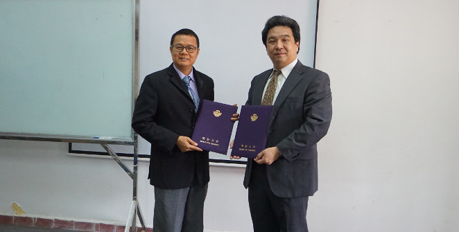 Concluding the agreement with Royal University of Fine Arts Rector Bong Sovath