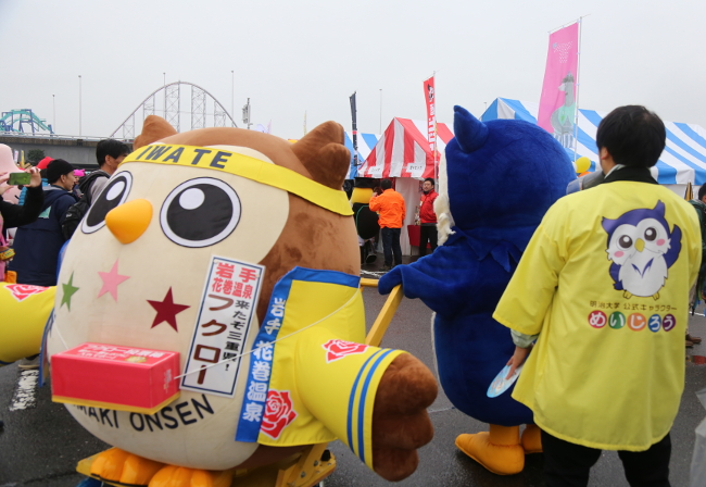 [1:25 p.m., Nov. 18] Appearance together with Fukuro, another owl-inspired character from Iwate Prefecture!