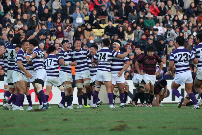 The Meiji ruggers rejoicing in victory