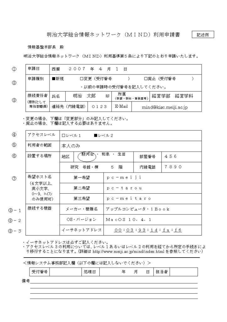 MIND利用申請書の書き方